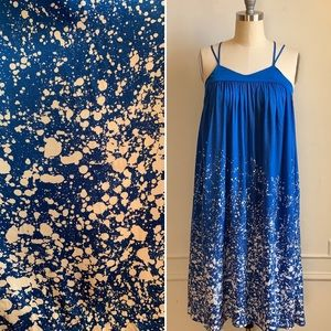 H&M Blue and White Paint Print Summer Sun Dress